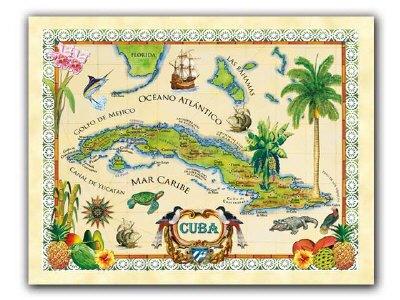 Classical Caribe Cuba Map CubanFoodMarketcom - Vintage map of cuba