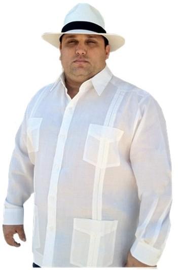 Plus Size Linen Long Sleeve Cuban Style Guayabera Up To 8xl