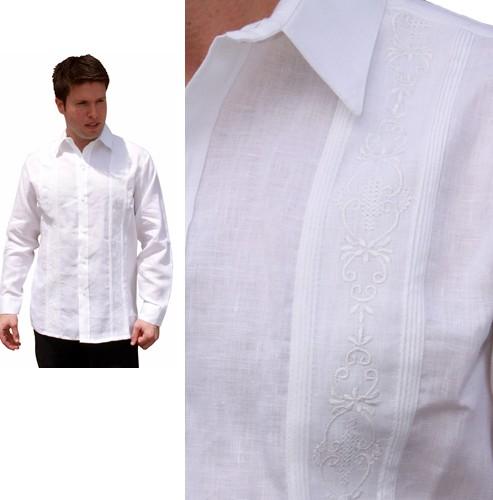 8f8d9f9f Wedding Guayabera Shirt for Men with Beautiful Embroidery -Long Sleeve,  Premium Linen Fabric-