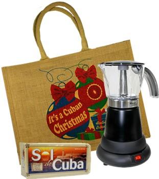 Electric Cuban Coffee Maker Gift Bag Free Designer Blue