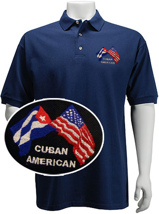 541be2bc Polo Shirt Featuring Embroidered Cuban American Flags: CubanFoodMarket.com